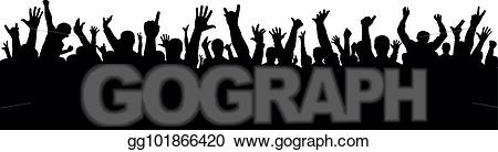 Vector illustration crowd of. Applause clipart concert