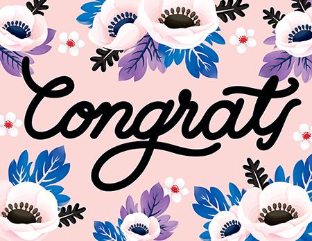 Congratulations cards postable floral. Applause clipart congratulation