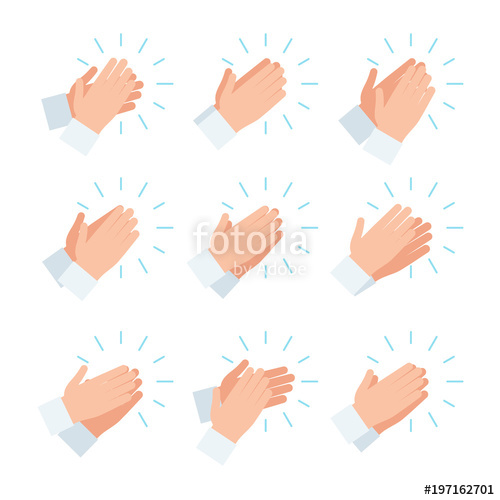 Clapping hands icon set. Applause clipart uses hand