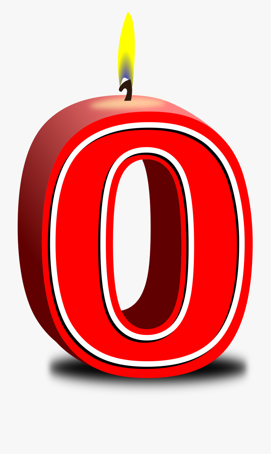 Number zero red candle. Apple clipart birthday