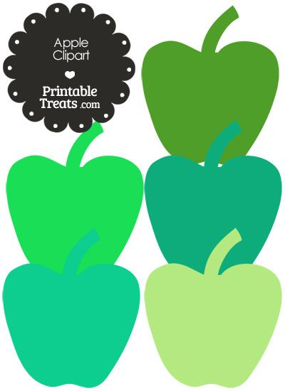 Apple clipart birthday. In shades of green