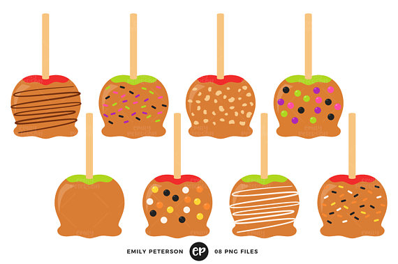 Caramel apples clip art. Apple clipart birthday
