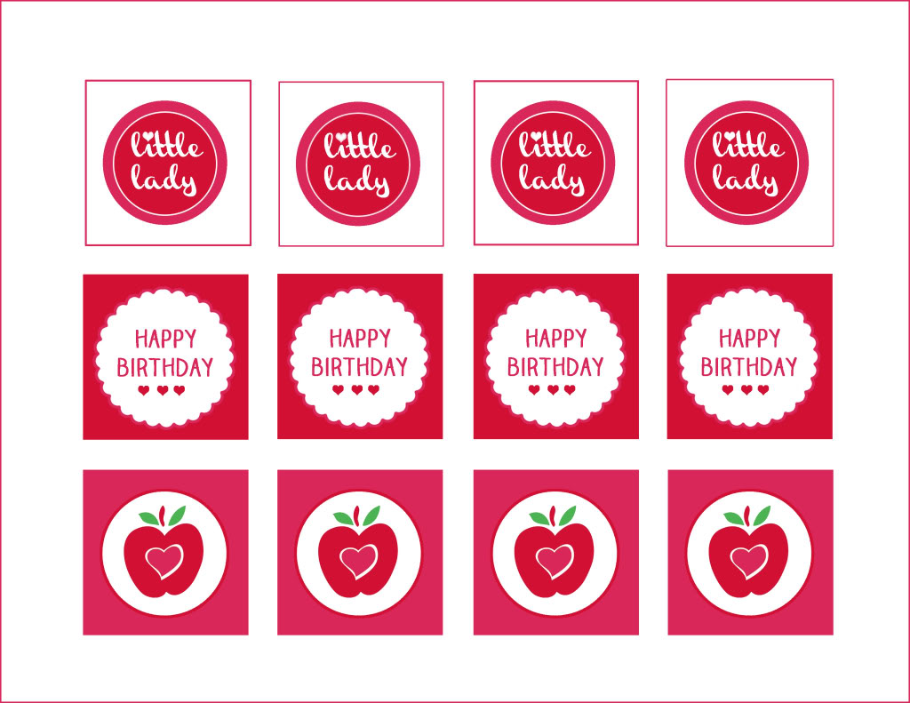 Pink party printables free. Apple clipart birthday