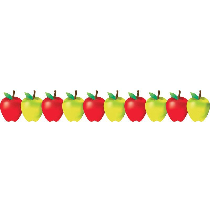 Red and green border. Apples clipart borders