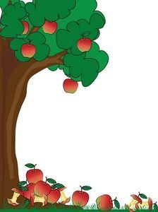 Green page border of. Apples clipart borders