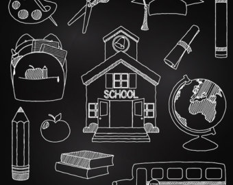 collection of apple. Chalkboard clipart graduation