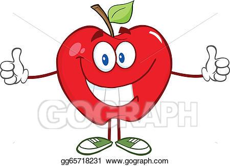 Apple clipart character. Vector art giving a