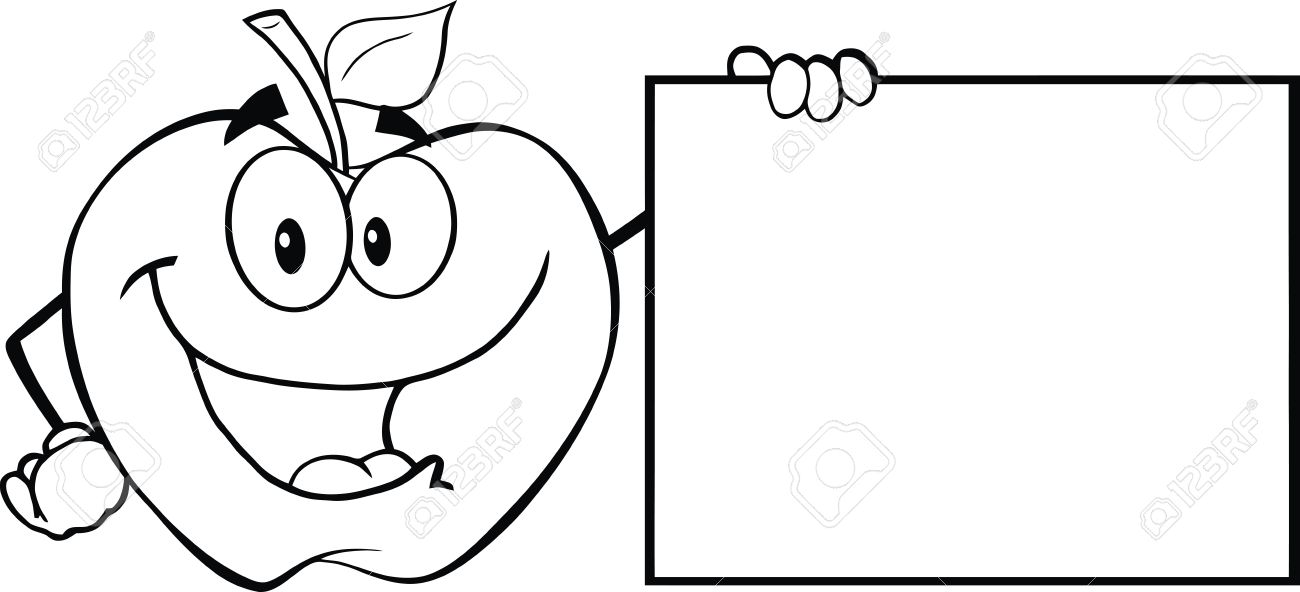 Apple clipart character. Breathtaking black and white