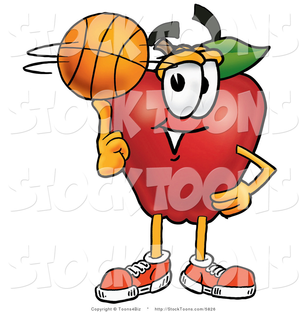 Apple clipart character. Stock cartoon of a
