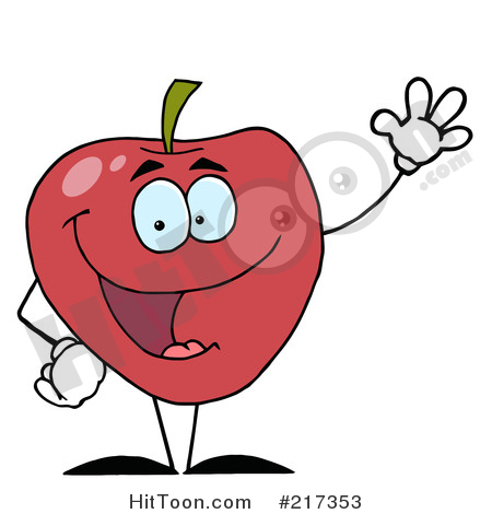 Friendly red waving by. Apple clipart character
