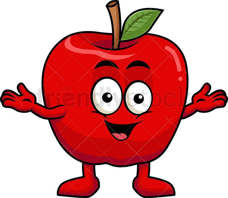 Happy mascot cartoon vector. Apple clipart character