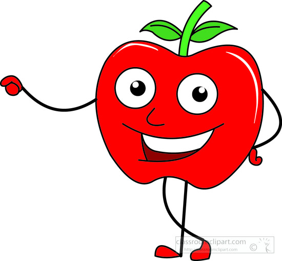 Fruits smiling wth arms. Apple clipart character