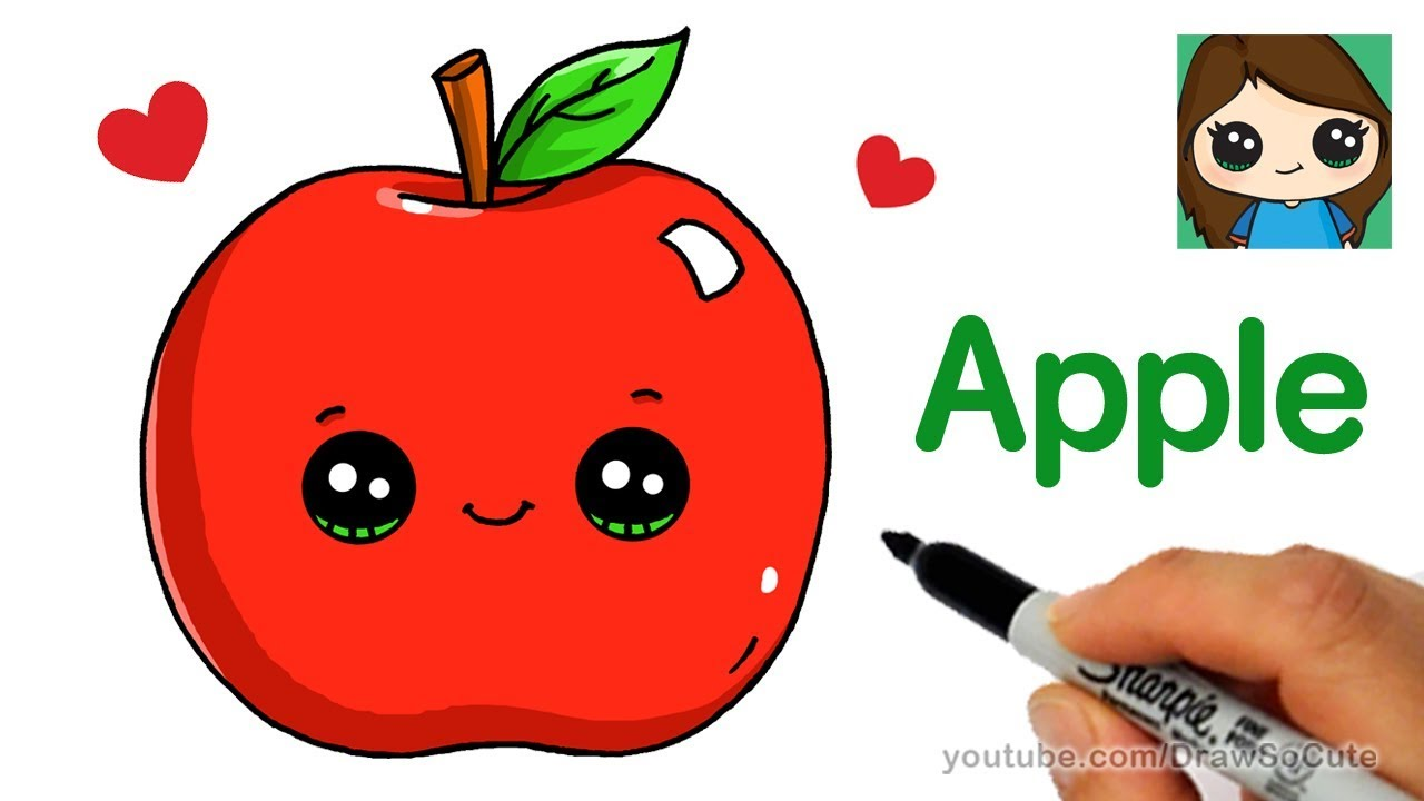 How to draw an. Apple clipart cute