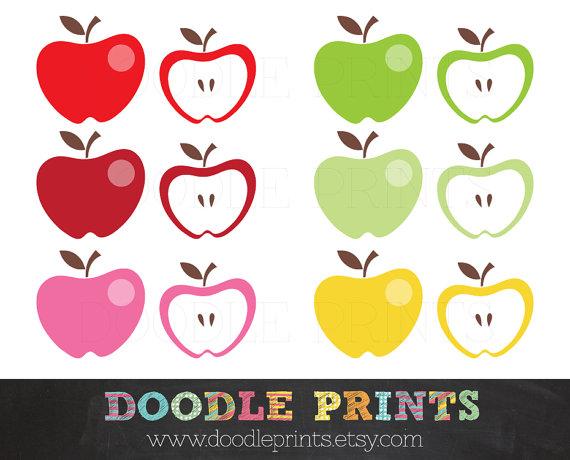 Apple set digital images. Apples clipart doodle