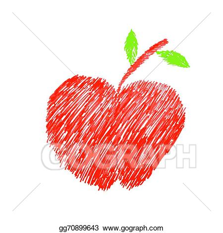 Apples clipart doodle. Vector art apple drawing