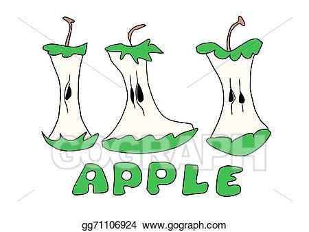 Stock illustration bitten apple. Apples clipart doodle