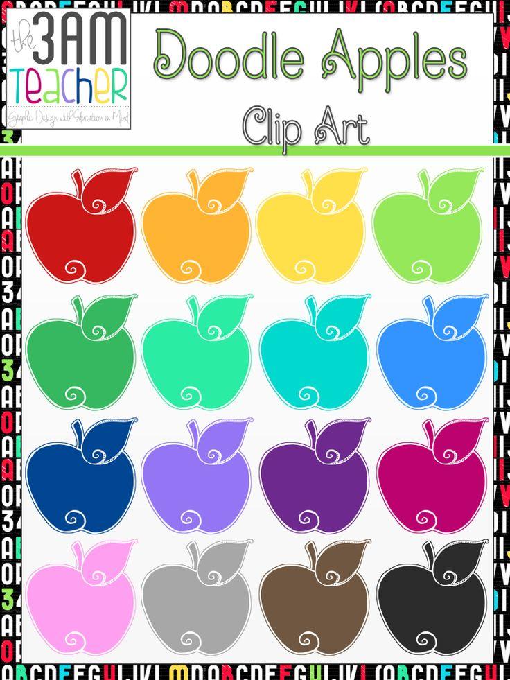best fall clip. Apples clipart doodle
