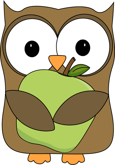 Holding a green apple. Clipart owl lunch