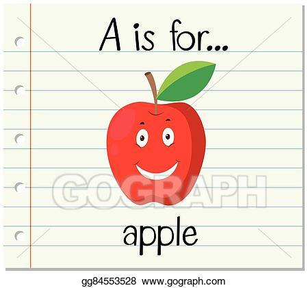 Apples clipart flashcard. Vector art letter a