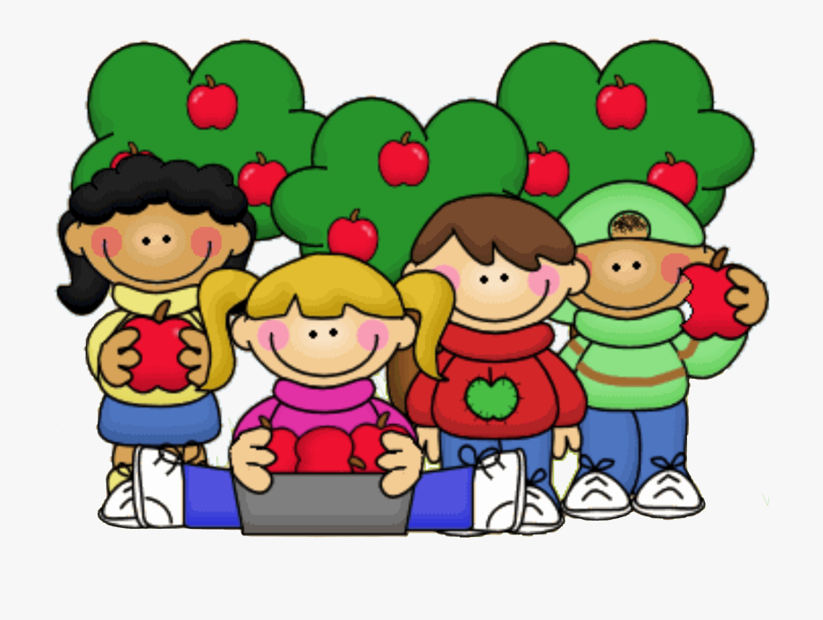 Apple clipart kid. Kids with apples thistlegirl