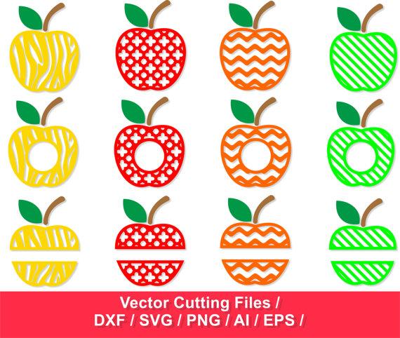 Apple frames svg cut. Apples clipart monogram