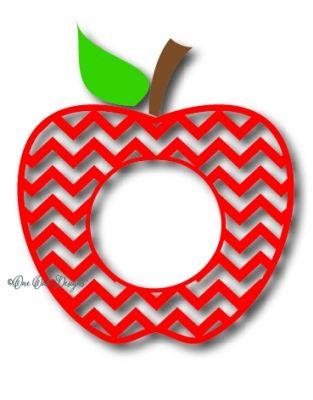 Apples clipart monogram. Chevron apple frame diy