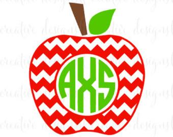 Apples clipart monogram. Chevron apple svg split