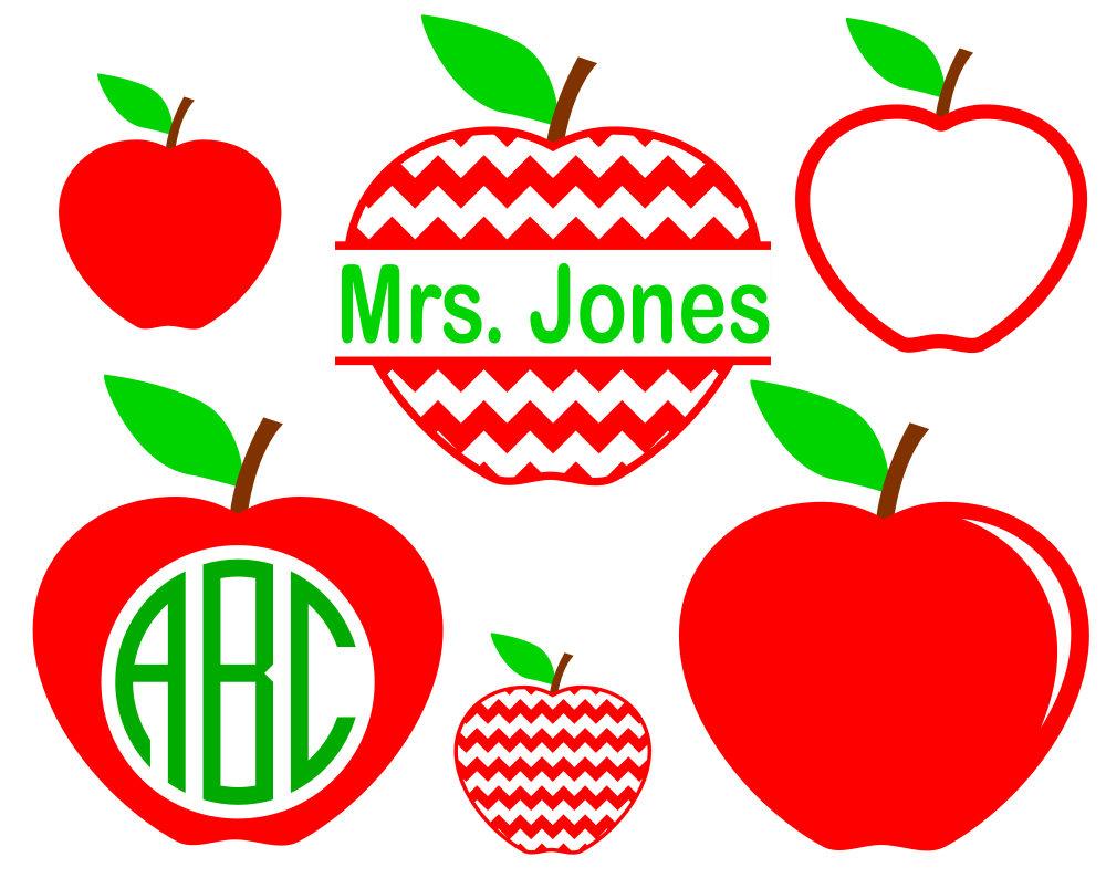 apple svg files. Apples clipart monogram