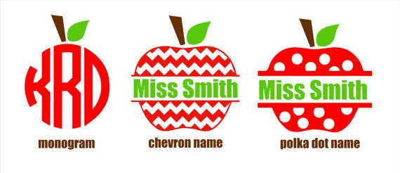 Apple clipart name. Items similar to monogram