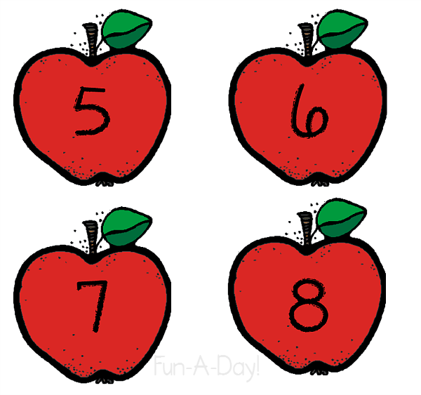 Apples clipart preschool. Apple number activity for