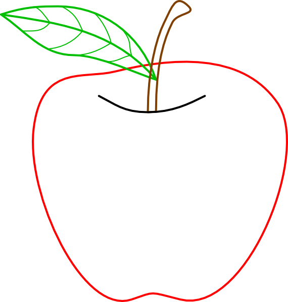 Colored apple clip art. Families clipart outline