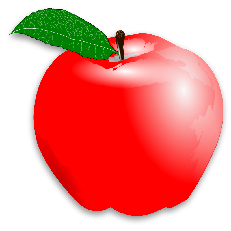 Red free large images. Clipart ruler apple
