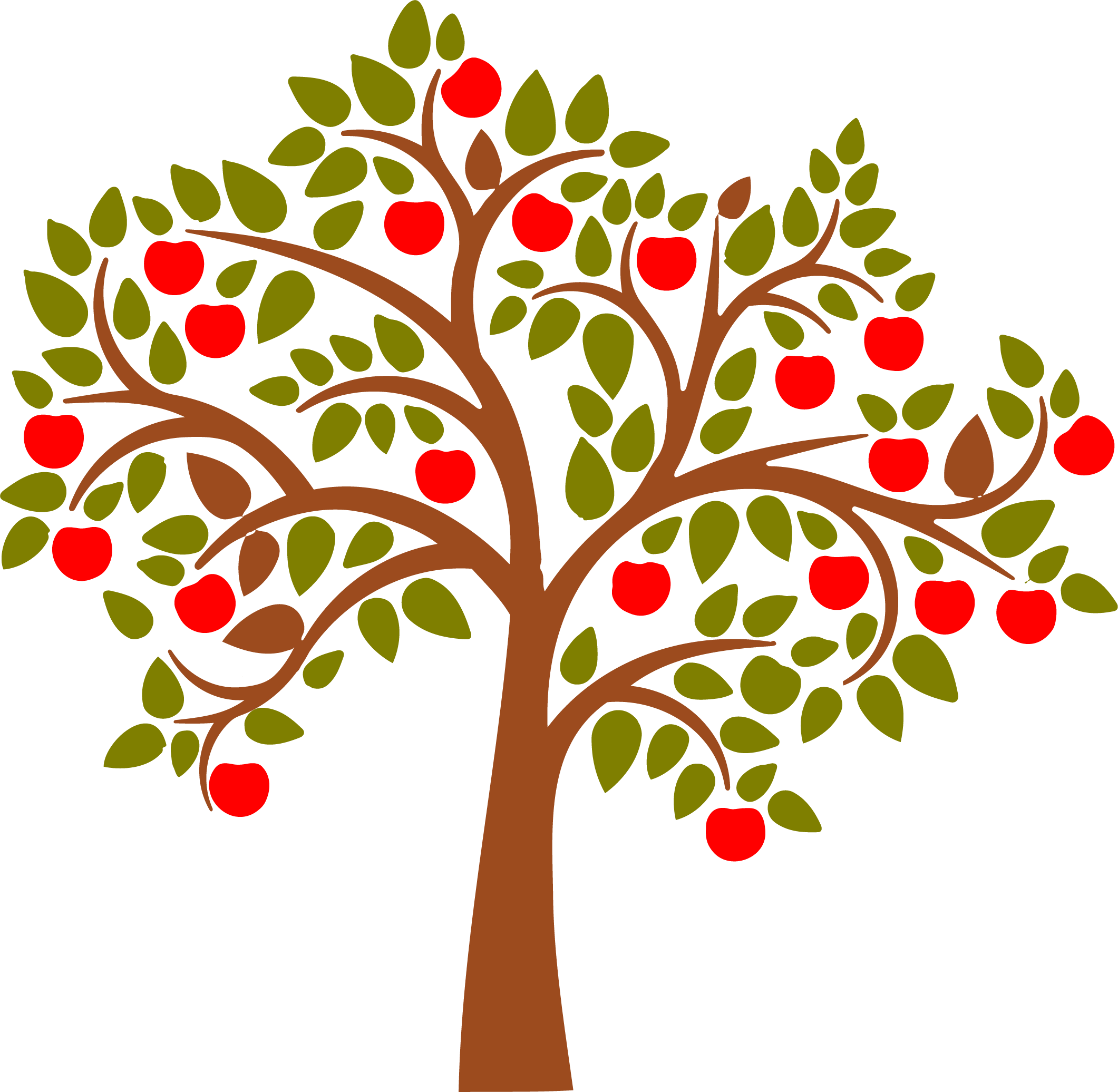 Clipart rose apple tree. Wall decal apples stenciling