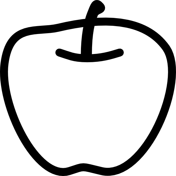 Black and white clip. Milk clipart apple