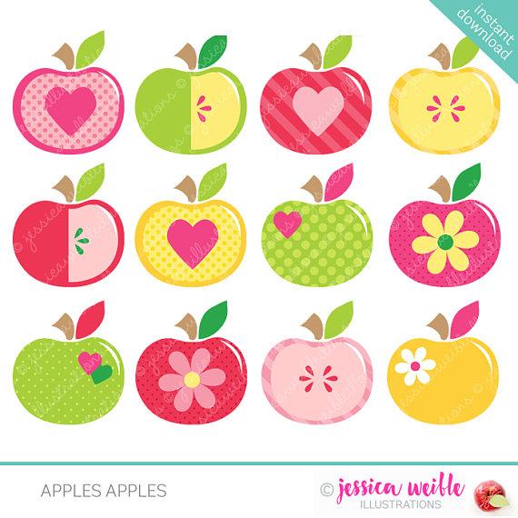 Apples clipart cute. Digital commercial use ok