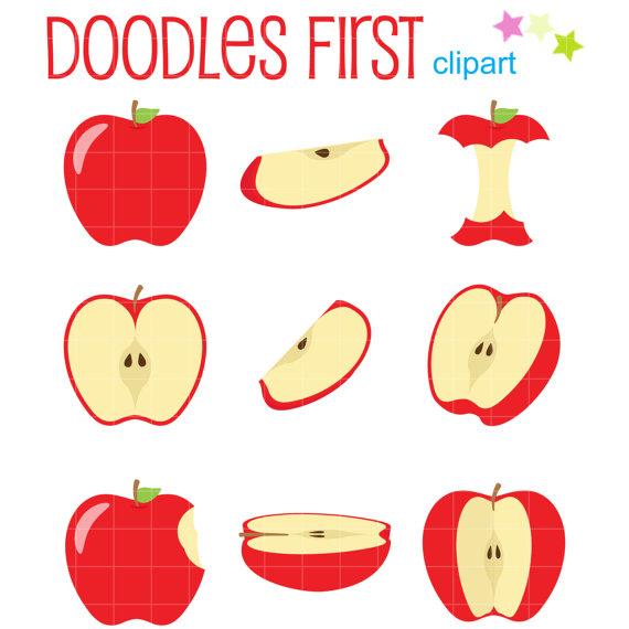Apples clipart doodle. Apple slices clip art