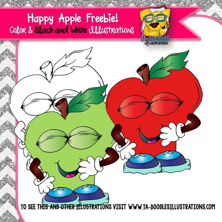 Happy apple freebie for. Apples clipart doodle