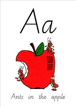 Ants in the apple. Apples clipart flashcard