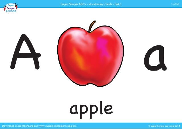 Alphabet vocabulary flashcards set. Apples clipart flashcard