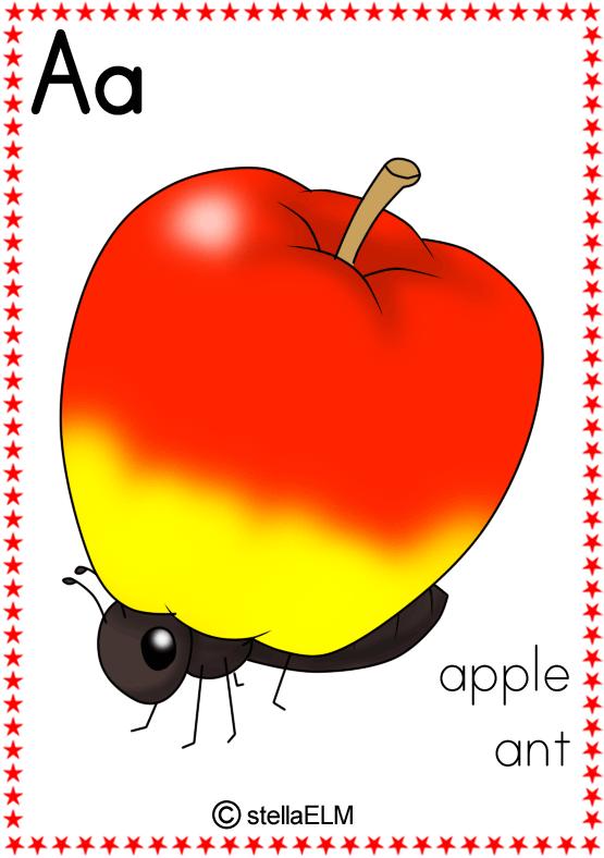 Apples clipart flashcard. Flashcards phonics