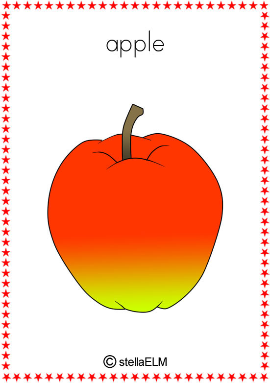 Apples clipart flashcard. Flashcards fruits set of