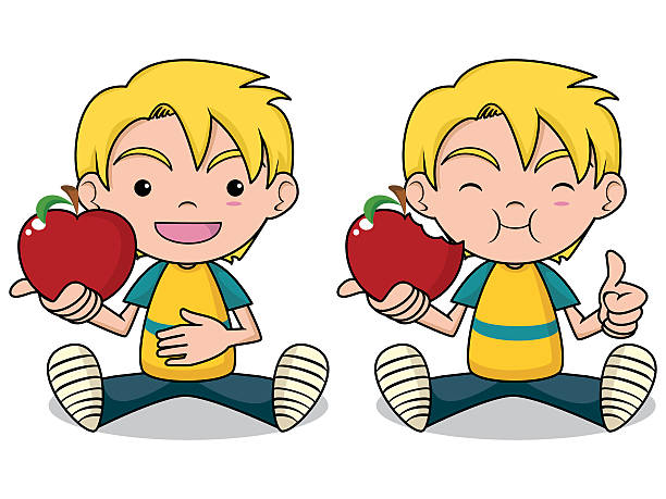 Eating apple clipartuse boy. Apples clipart kid