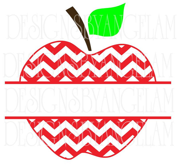 Split chevron apple frame. Apples clipart monogram