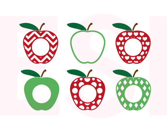 Apples clipart monogram. Apple design set with