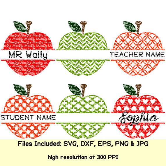 Apples clipart name. Teacher svg apple school