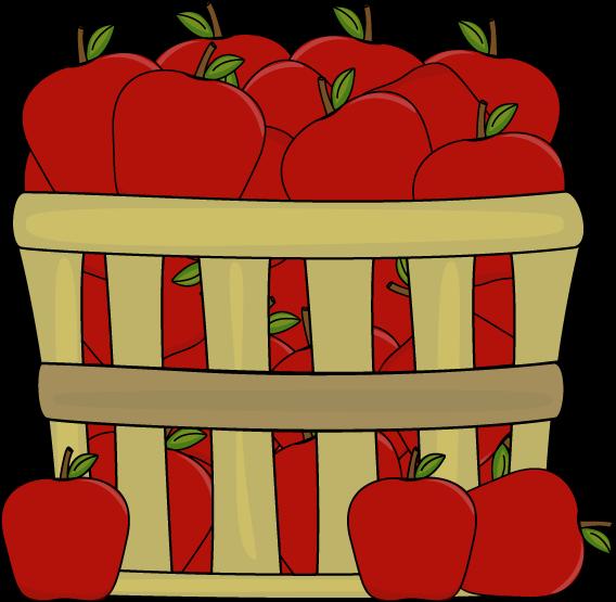 Apples in a basket. Bucket clipart apple