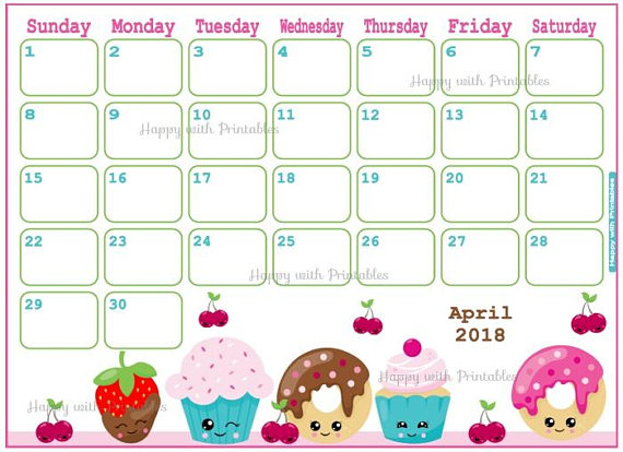 Month calendar free indo. April clipart april 2018