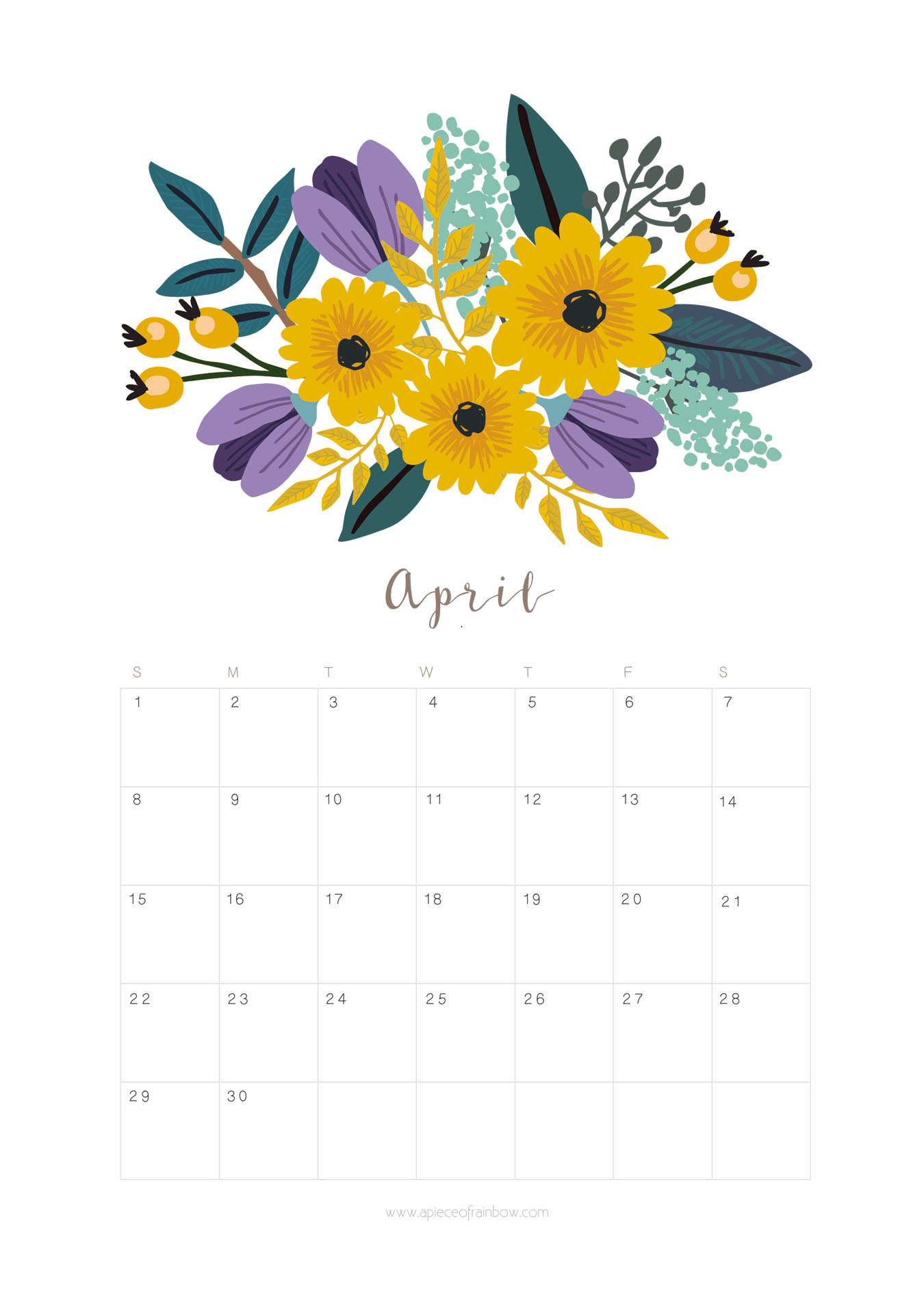Printable calendar monthly planner. April clipart april 2018