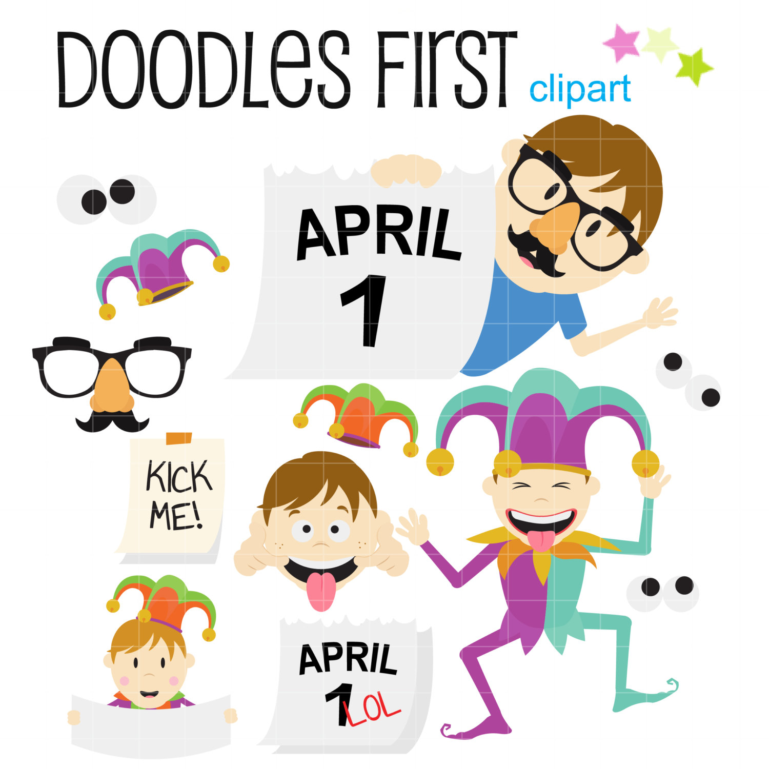 Silly fool s day. April clipart april fools
