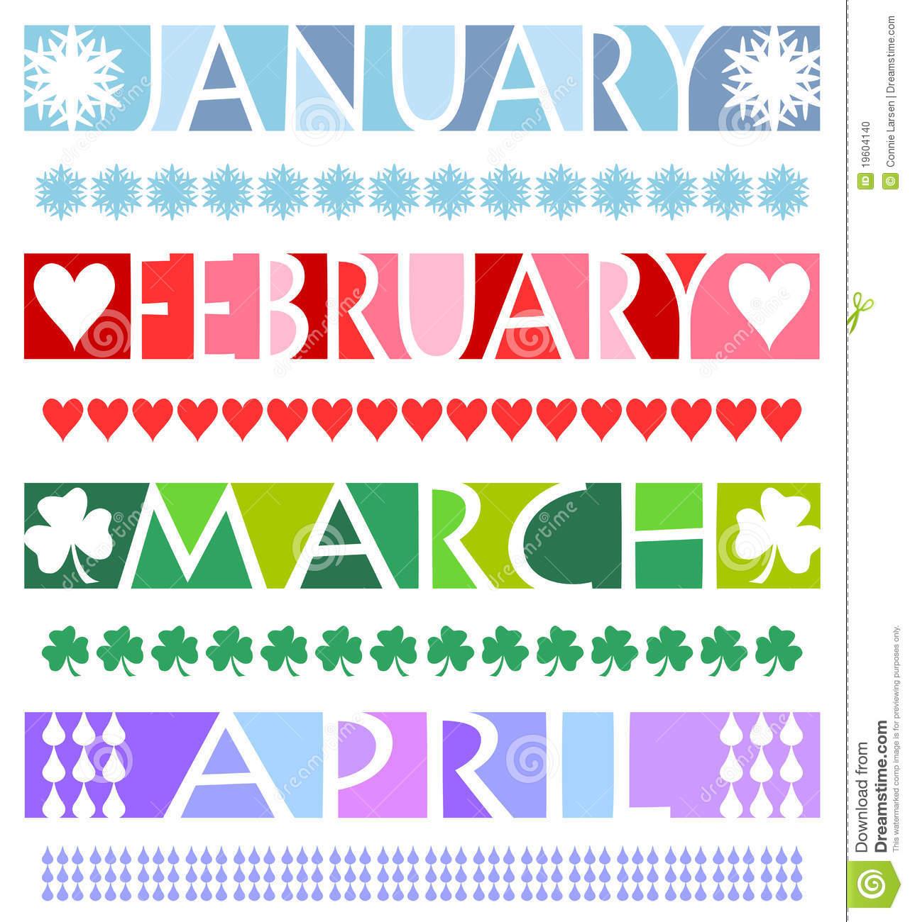 April clipart banner. January